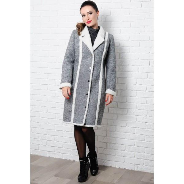 Теплое пальто на овчине Дореми, серое