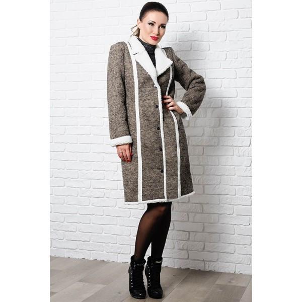 Стильное теплое пальто Дореми, капучино
