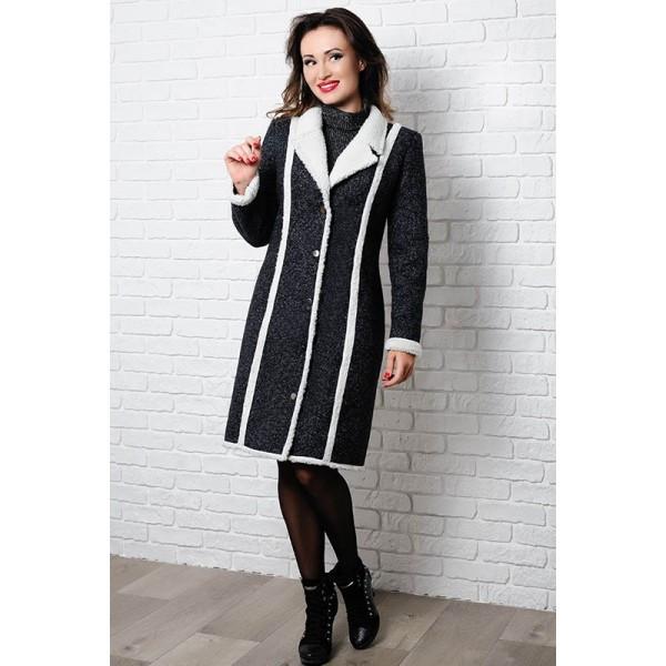Черное пальто на овчине Дореми