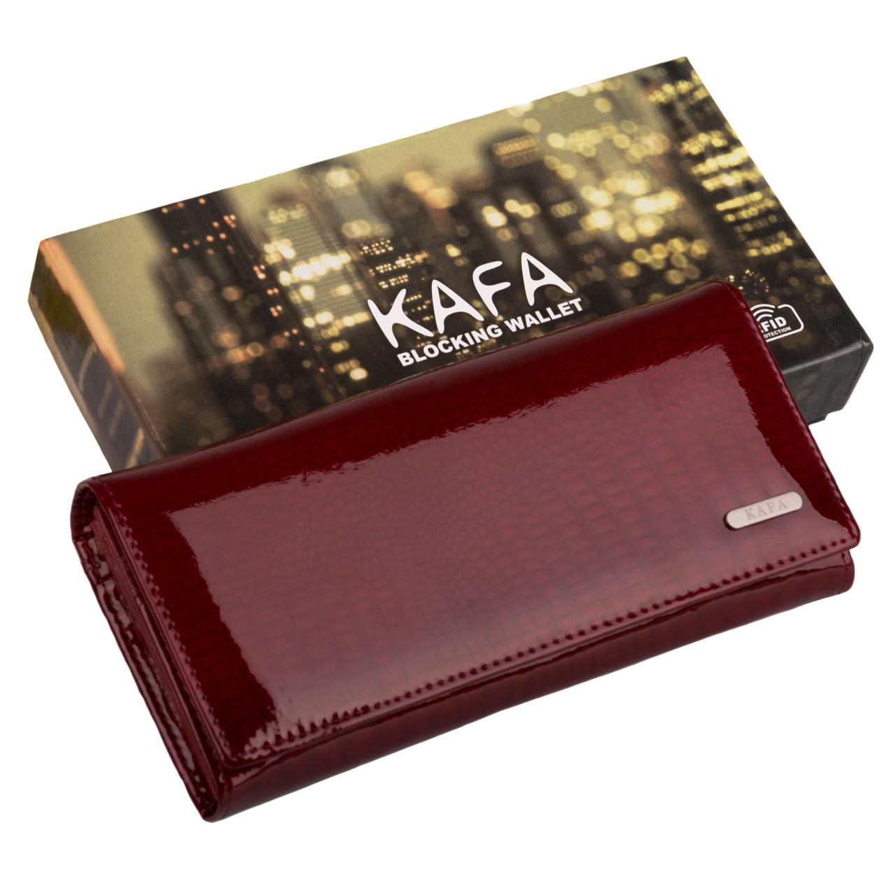 fab46bf1d650 Кошелек женский кожаный лаковый Kafa с RFID защитой (AE150 red) - MODNA  FISHKA в