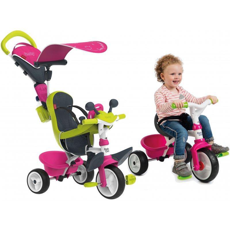 Детский велосипед Smoby 3-в-1 c бесшумными колесами + бутылка с водой