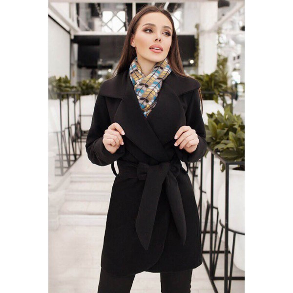 Черное короткое пальто Альба большого размера