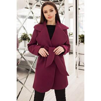 Бордовое кашемировое пальто Альба батал