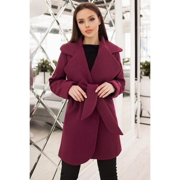 Стильное демисезонное пальто Альба, бордовый