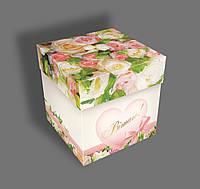 Подарочная бумажная коробка ''Кубик- розы'', 500 грамм