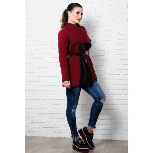 Бордовое демисезонное пальто Констанция