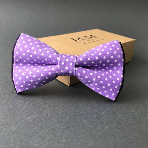 Краватка-метелик I&M Craft бузковий в горошок (00029), фото 2