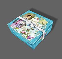 Подарочная бумажная коробка с атласной лентой 700 грамм Синяя