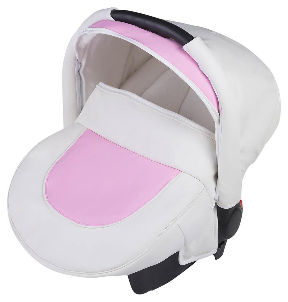 Автокресло Adamex Carlo кожа 100%  белый - розовый