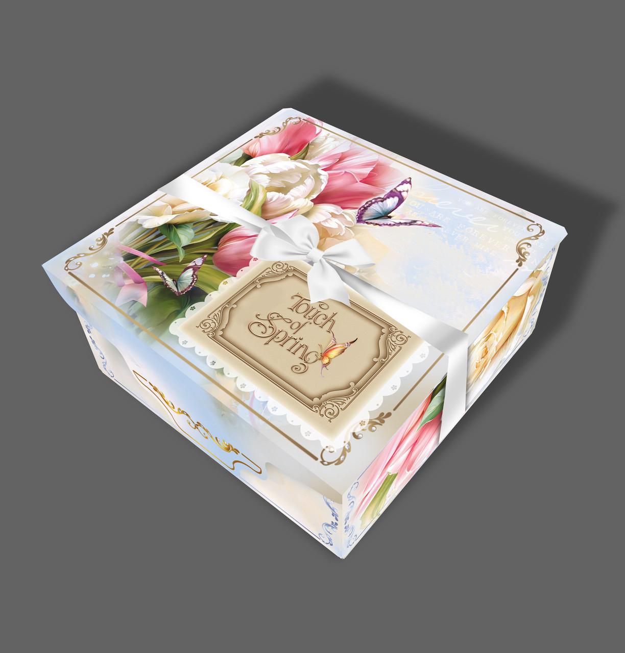 Подарочная бумажная коробка с атласной лентой 700 грамм Тюльпан