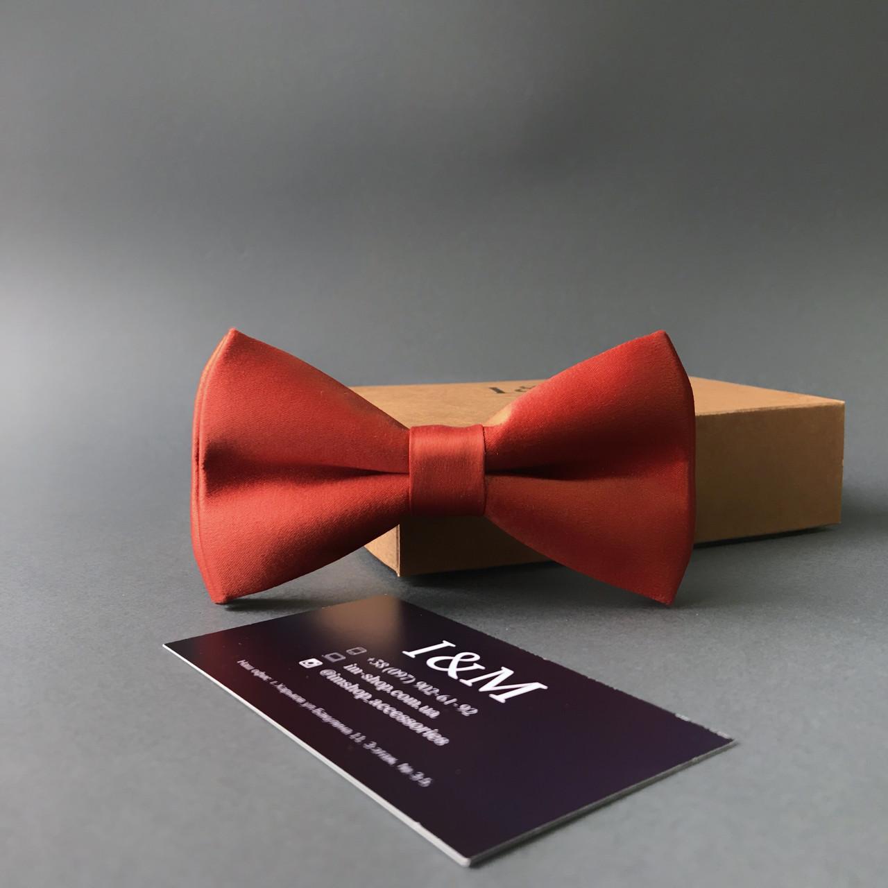 Краватка-метелик I&M Craft атласна класичний теракотовий (010326)