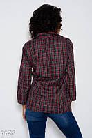 Черно-красная рубашка из тонкой байки с карманом на груди и хлястиками на  рукавах 533af3c5ebbd3