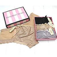 Подарочный набор женского нижнего белья трусики слипы брифы Victoria's Secret Викториас Сикрет