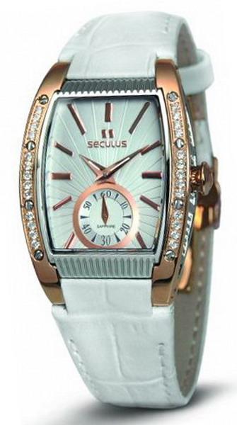 Женские часы Seculus 1667.2.1069 white, pvd-r cz stones, white leather