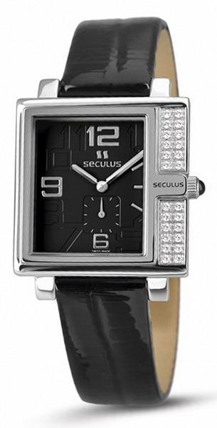 Женские часы Seculus 1670.2.1064 black, ss-cz, black leather
