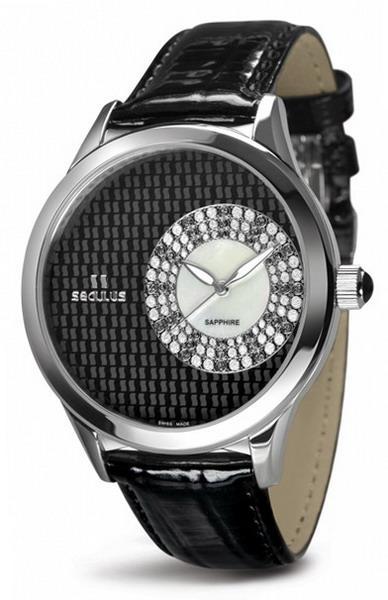 Женские часы Seculus 1672.2.1063 black mop, ss crown onyx, black leather