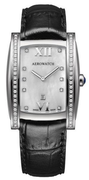 Женские часы Aerowatch 03952AA01DIA black leather strap