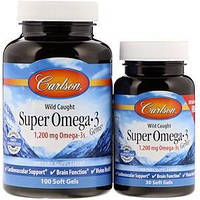 Омега 3 супер, Carlson Labs, Super Omega 3, 1200 мг, 100+30 капсул