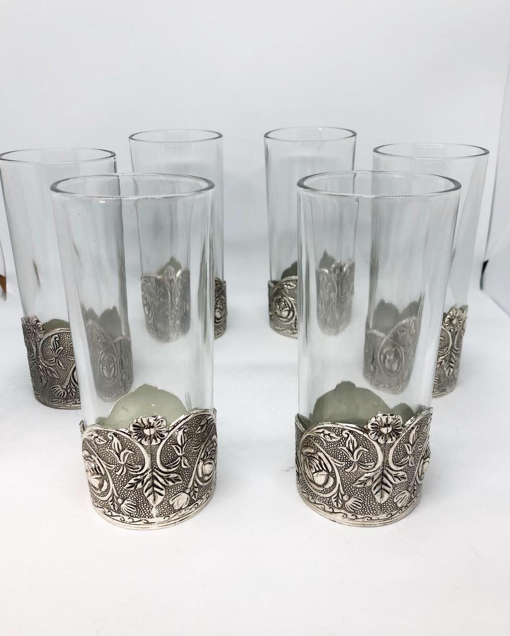 Набор стаканов с подстаканником из мельхиора с посеребрением MCA Vizyon 6 штук