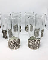 Набор стаканов с подстаканником из мельхиора с посеребрением MCA Vizyon 6 штук, фото 1