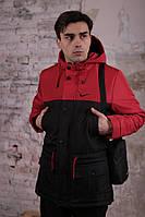 Весенняя мужская парка с боковыми карманами черно-красная