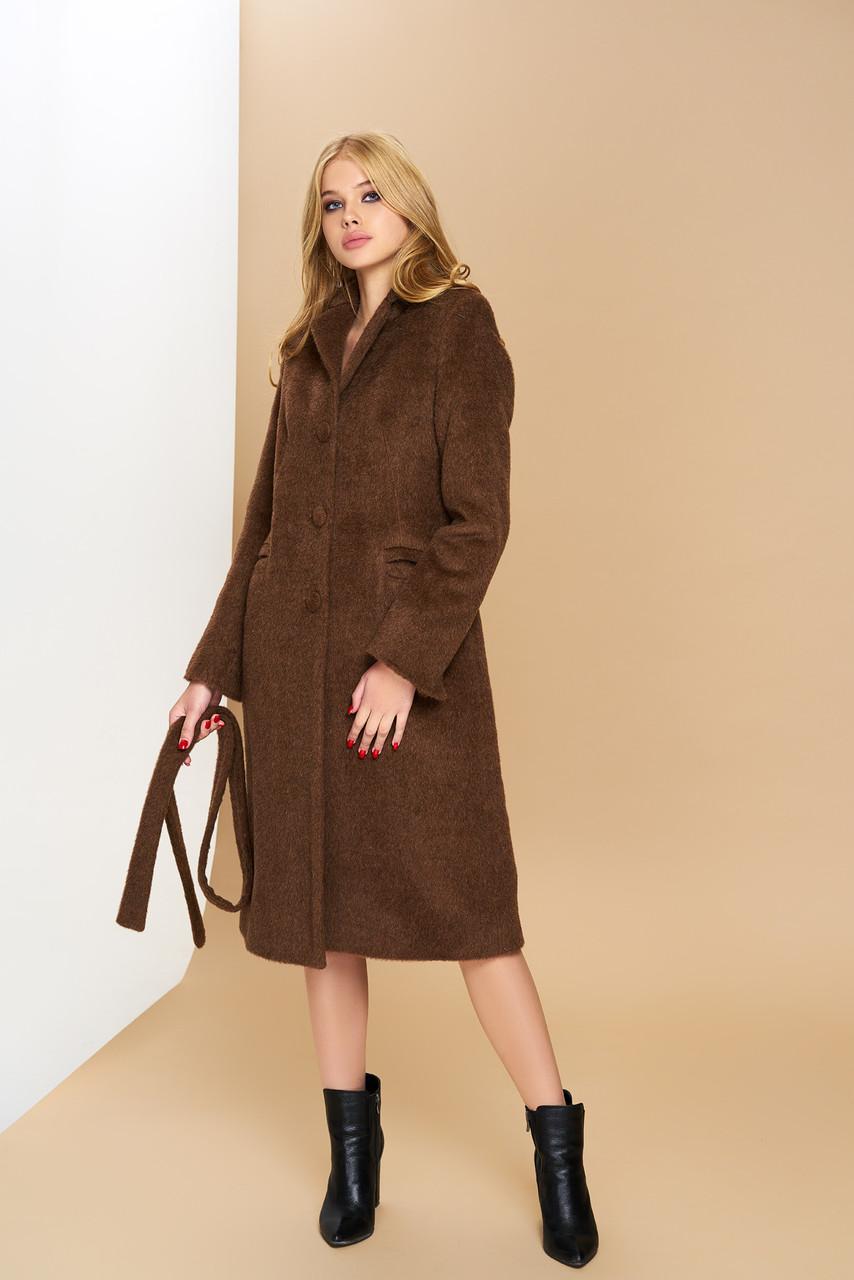 Классическое демисезонное шерстяное пальто коричневое