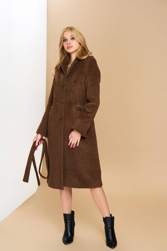 Классическое демисезонное шерстяное пальто коричневое, фото 2
