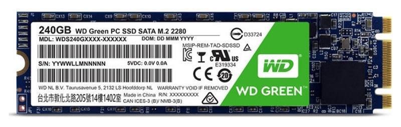 Накопитель SSD  240GB WD Green M.2 2280 SATAIII TLC (WDS240G2G0B)