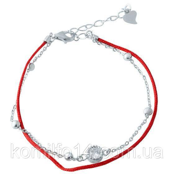 Серебряный браслет с красной нитью и куб.цирконием