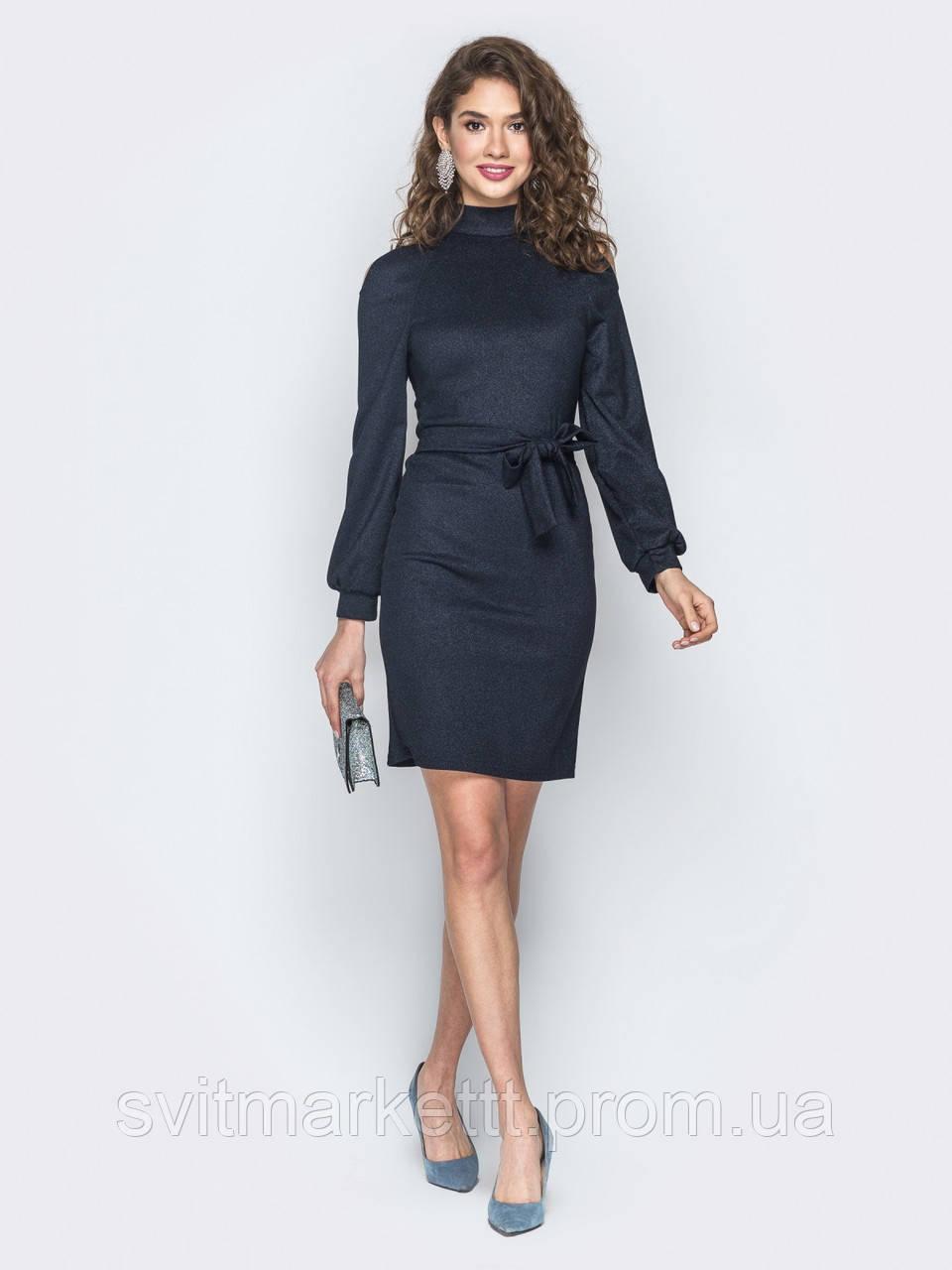 4ec1380ccf9 ⭐️Черное приталенное платье с разрезами на плечах (с поясом ...