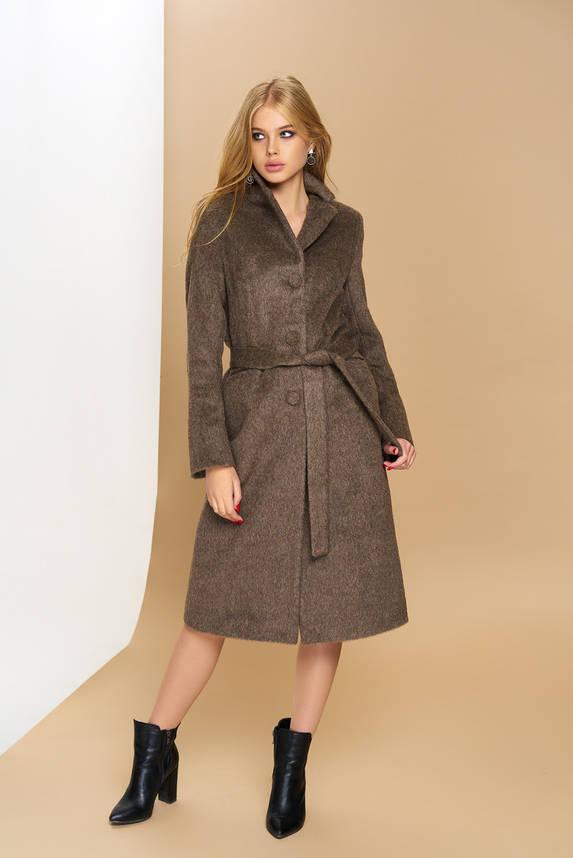 Классическое демисезонное пальто из шерсти коричневое, фото 2