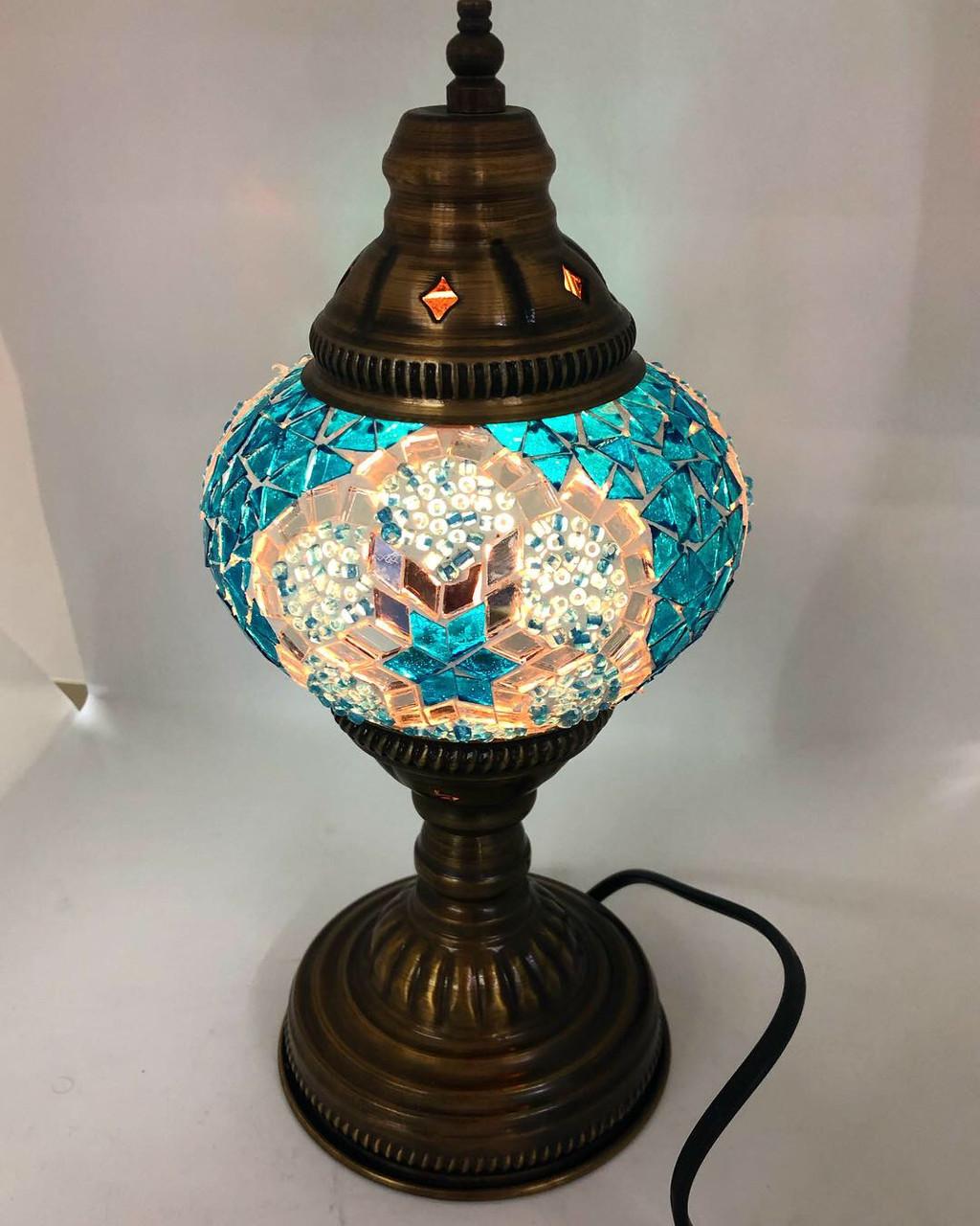 Настольный турецкий светильник Sinan из мозаики ручной работы бирюзовый, фото 1
