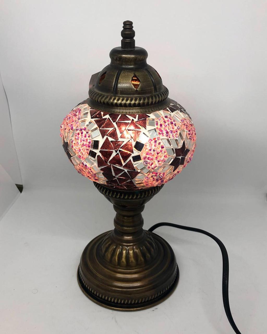 Настольный турецкий светильник Sinan из мозаики ручной работы розовый