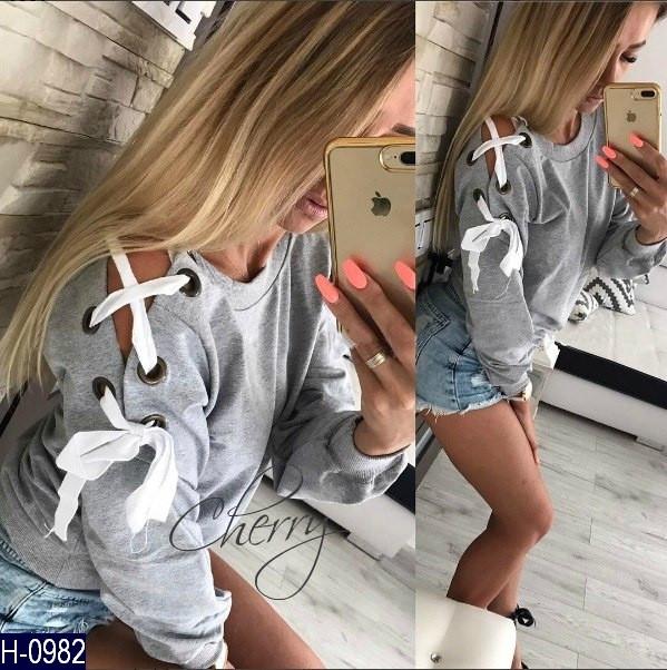 Кофта женская Ткань: двухнитка Цвет: серый Размер: 42-46