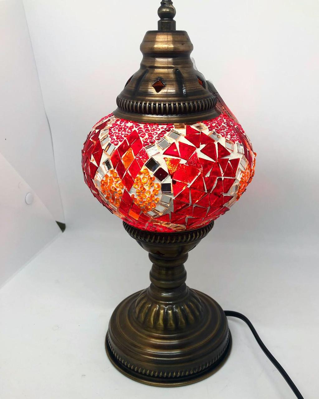 Настольный турецкий светильник Sinan из мозаики ручной работы красный 2