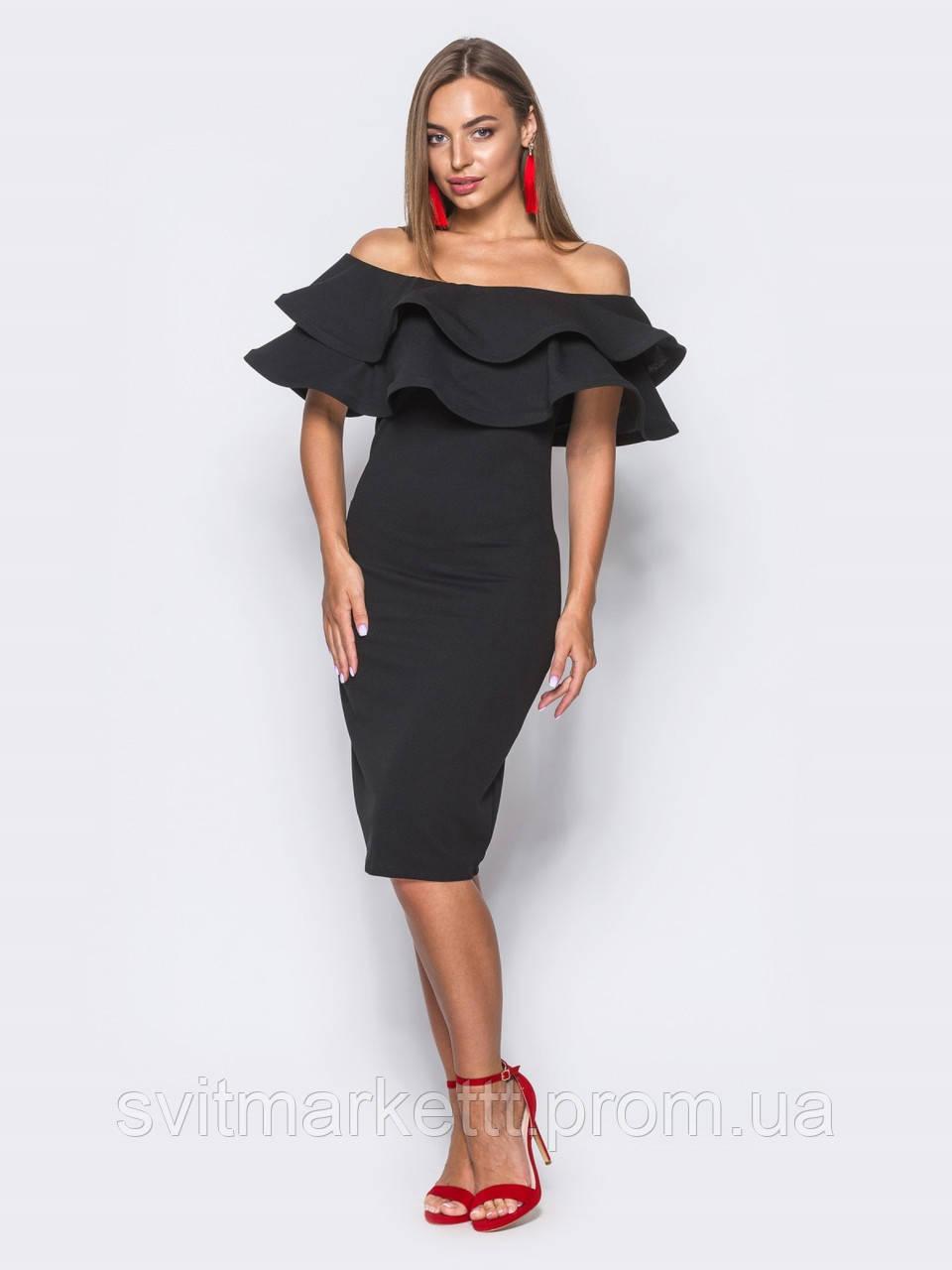 2b07e79261c ⭐️Элегантное черное платье с двойной оборкой (коктельное