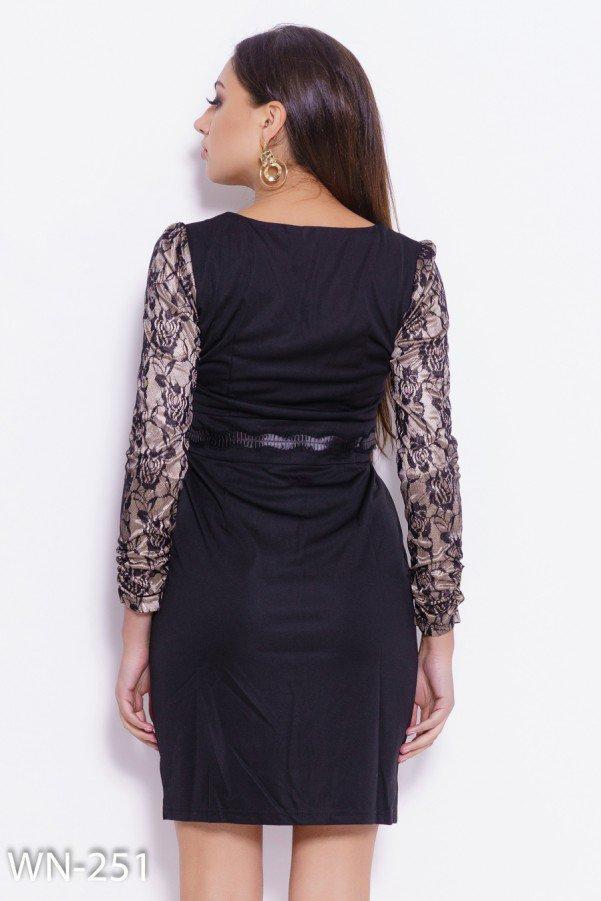 3524fc05a85 Черное Платье с Кружевом и Рюшами на Поясе — в Категории