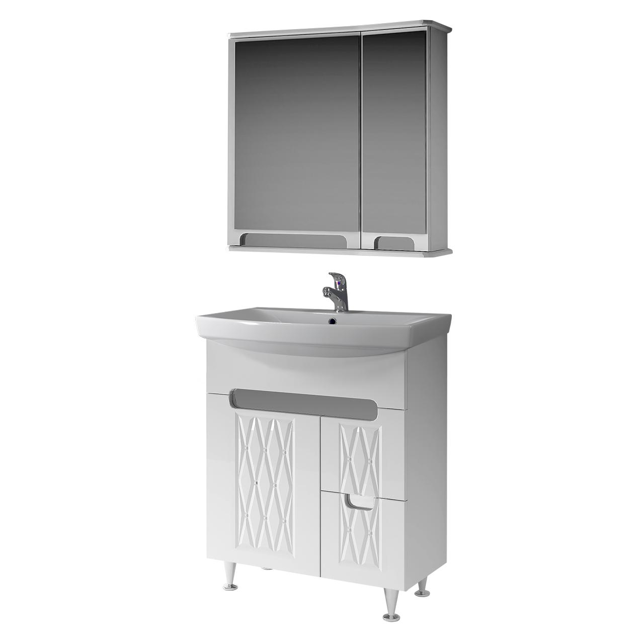 Комплект мебели для ванной комнаты Венеция 70-2 ( белый ) ВанЛанд