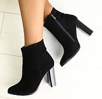 38,39,40 Модные демисезонные замшевые ботильоны женские ботинки на широком каблуке черные весна осень T55ME01R