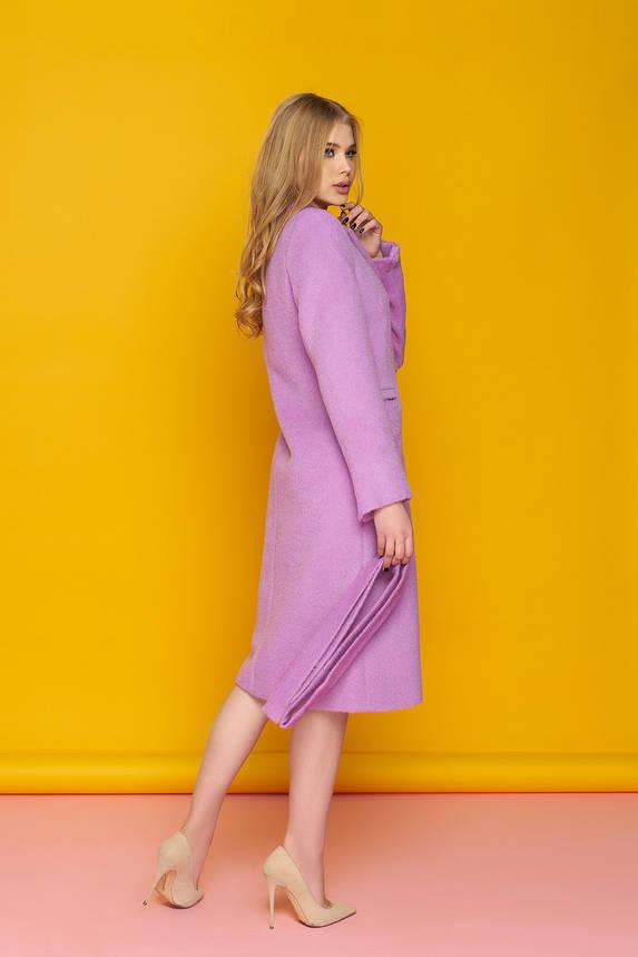 Классическое весеннее пальто из шерсти длинное сиреневое, фото 2