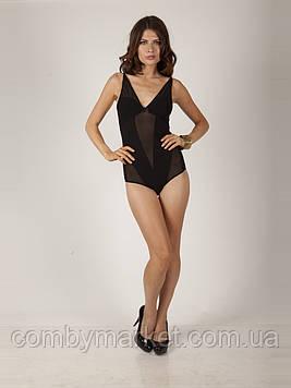 Женское боди черное со вставками из сетки