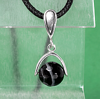 Оникс черный, серебро, кулон, 973КЛО, фото 1