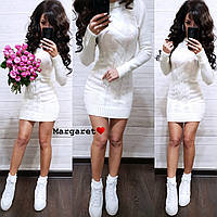 Вязанное стильное платье, размер единый 42-46