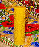 """Восковая свеча """"Высокая с узором"""" из натурального пчелиного воска, фото 3"""