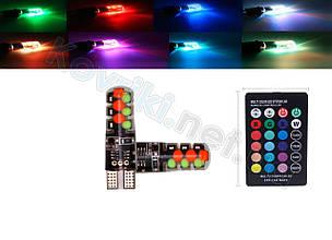 Светодиодные лампы габаритных огней LED T10+, 16 цветов, с пультом ДУ