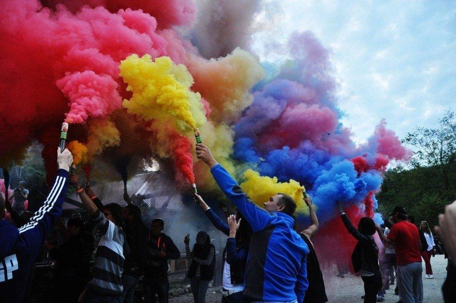 Цветной дым 6 цветов (микс) ДК-60 60с