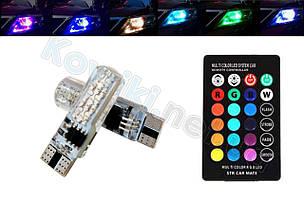 Светодиодные лампы габаритных огней LED T10, 16 цветов, с пультом ДУ