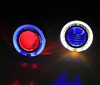 СИНИЕ Дьявольские Глазки для подсветки би-линз mini H1, G5 и других / Devil Eyes for Projector Lens (BLUE)