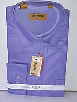 Рубашка мужская De Luxe vd-0021 лавандовая однотонная классическая с длинным рукавом
