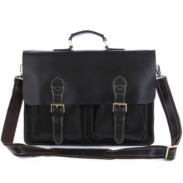 Мужской кожаный портфель из натуральной кожи в коричневом цвете TIDING BAG 7105A